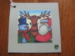 Santa and his buddies, Rudolph and Frosty Christmas Greetings Gift tag set of 6