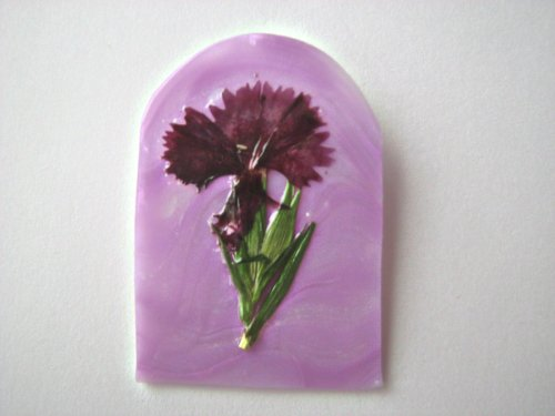 OOAK Brooch Pin Burgandy Dianthus (Sweet William)
