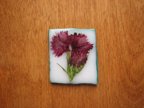 OOAK Red Dianthus Brooch